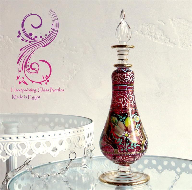 エジプト香水瓶 Egypt Purfume Bottles・美しいハンドペイントのフラワーデザイン/20cm・レッド