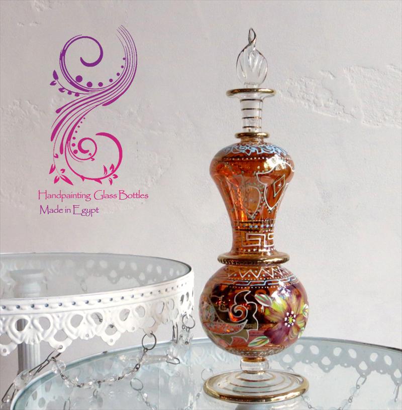 エジプト香水瓶 Egypt Purfume Bottles・美しいハンドペイントのフラワーデザイン/20cm・オレンジ