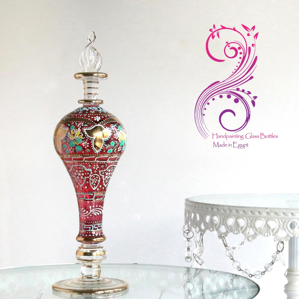 【エジプトお土産】美しいハンドペイント・エジプトガラス香水瓶クラシカルフラワー/チェリーレッド