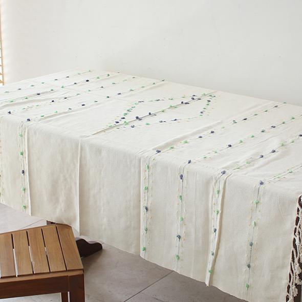 手機織りコットン素材のマルチカバー/テーブルクロス・スクエア
