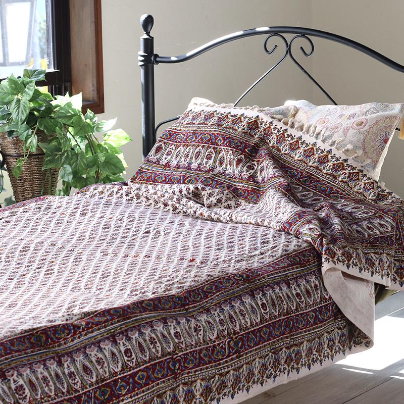 ガラムカールペルシャ更紗240cm長方形 アンティークデザイン・手染め布イラン製ベッドカバー・ソファカバー・マルチカバー・アイデアでいろいろ使えるオリエンタルな手染め布