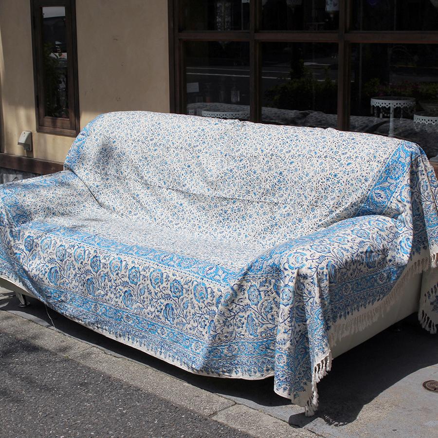 ガラムカール・ペルシャ更紗(イラン・手染布)280cmサイズ長方形ブルー系フラワー柄・コットンマルチカバー/ソファーカバー&ベッドカバー