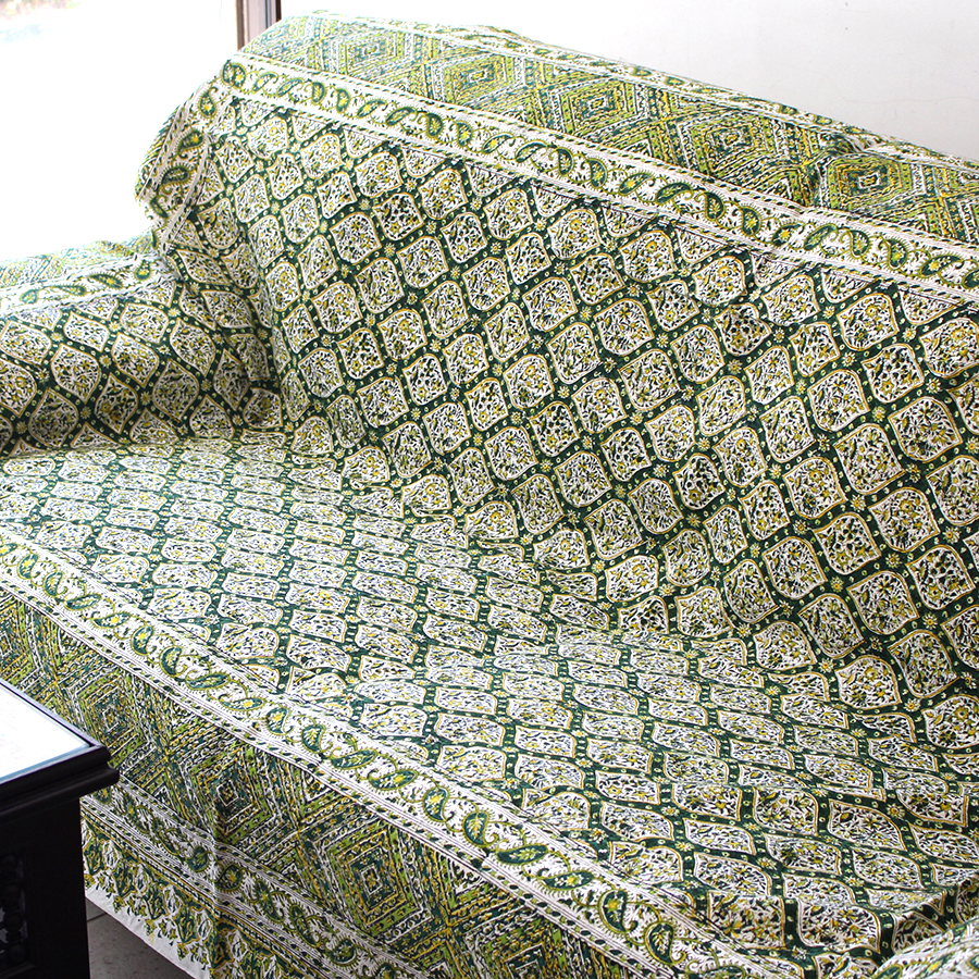 ガラムカールペルシャ更紗240cm長方形 アンティークデザイン・グリーン系フラワー柄 手染め布イラン製ベッドカバー・ソファカバー・マルチカバー・アイデアでいろいろ使えるオリエンタルな手染め布