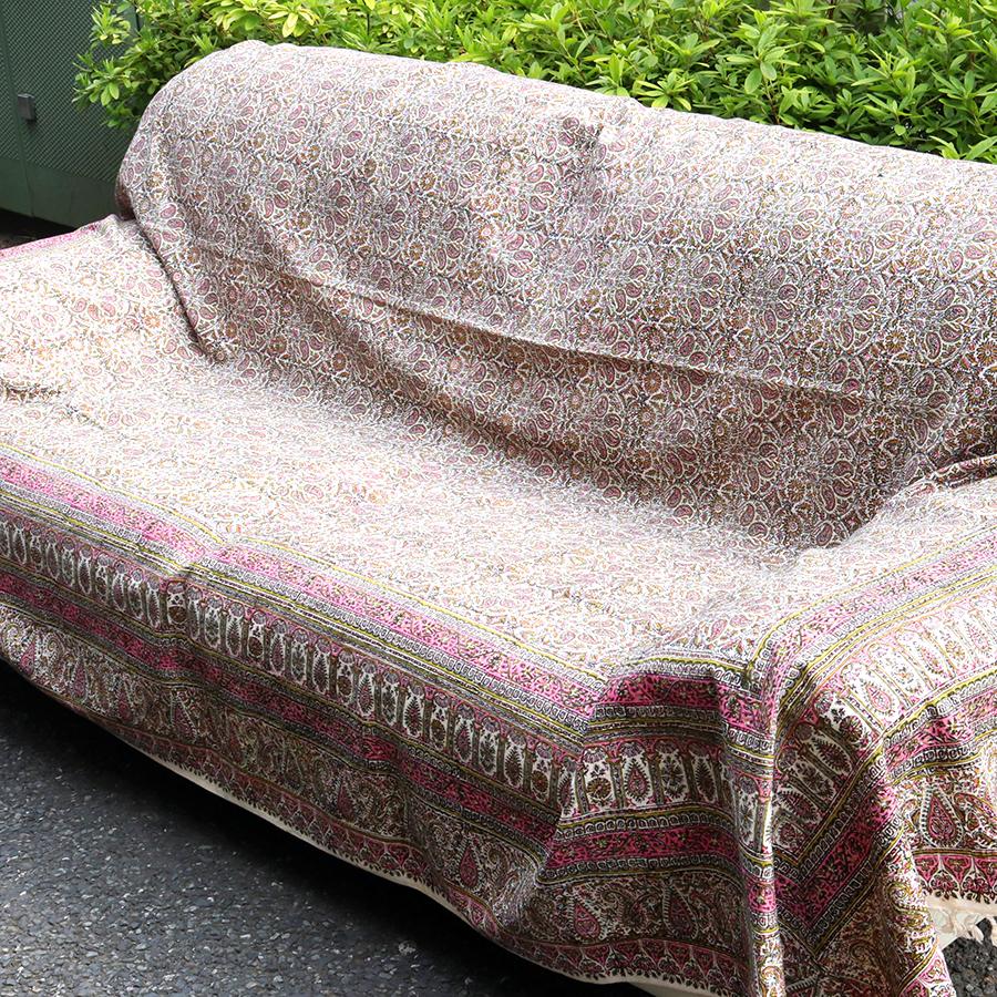 ペルシャ更紗・ガラムカール(イラン・手染布)280cmサイズ長方形アンティークデザイン・ピンク系フラワー柄・マルチカバー・ソファーカバー・ベッドカバー