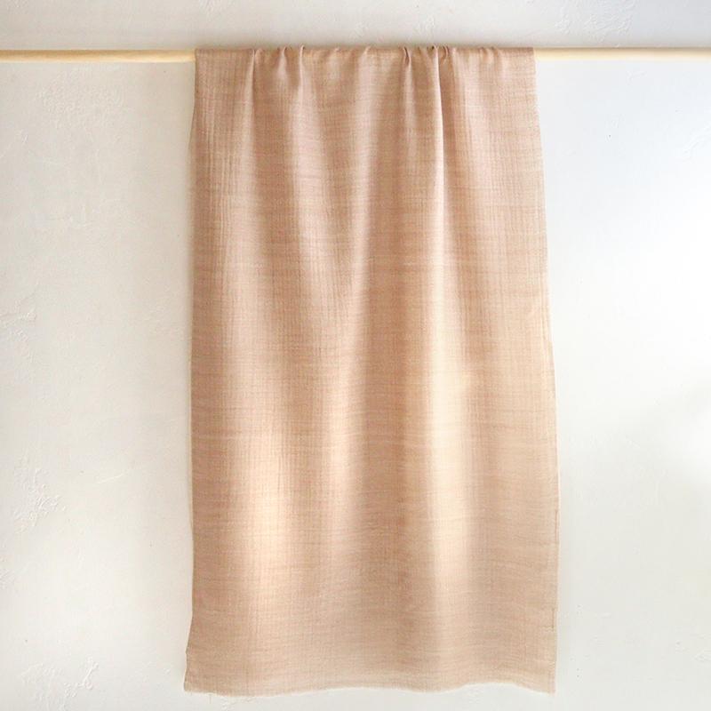 カシミアストール・手織り/大判サイズベージュ&アイボリーのリバーシブル/1点もの