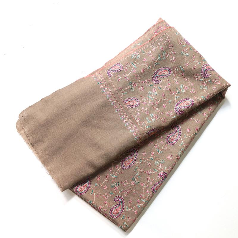 カシミアストール・細かな刺繍/大判サイズブラウン/1点もの