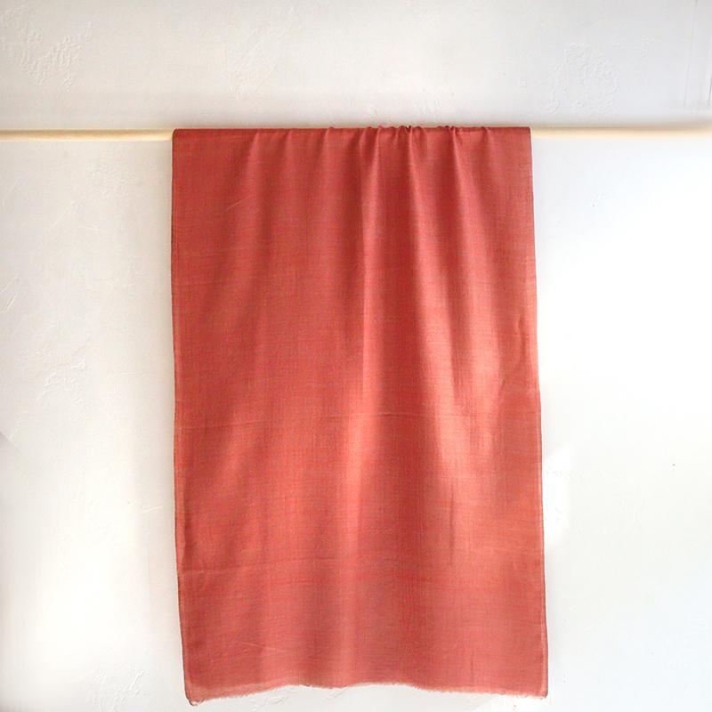 カシミアストール・手織り/大判サイズオレンジ/1点もの