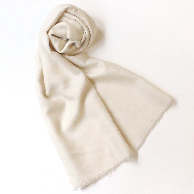 カシミアストール・手織り/大判サイズホワイト/1点もの