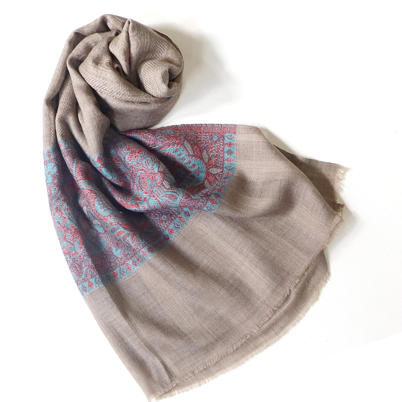 手織りのカシミアストール大判サイズグレージュ/水色