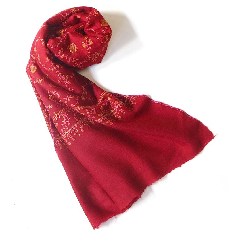 手織りの刺繍カシミアストール大判サイズ/レッド/1点もの