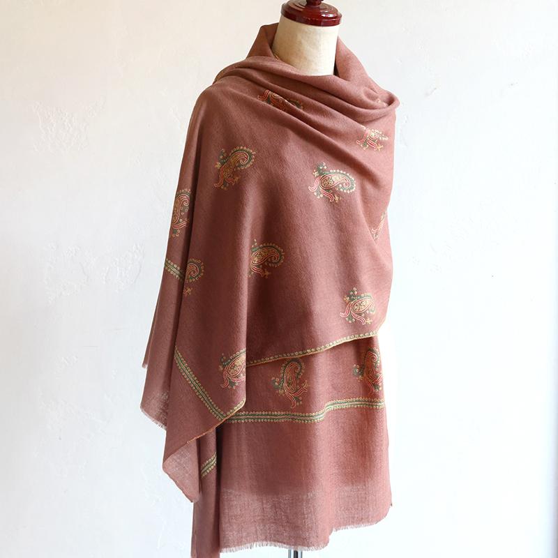 手織りのカシミアストール/細かな刺繍・大判サイズオールドローズ/ペイズリー