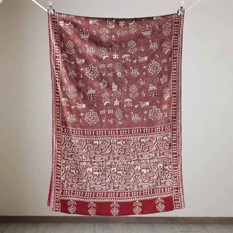 インドのストール・刺し子布・カンタ・シルク製/赤い地にアイボリーの刺繍・鳥と人と家と木・賑やかな村の景色Indian KANTHA Silk Stole
