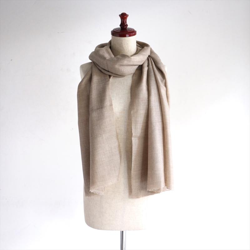 手織りの大判カシミアストール・ショールベージュ
