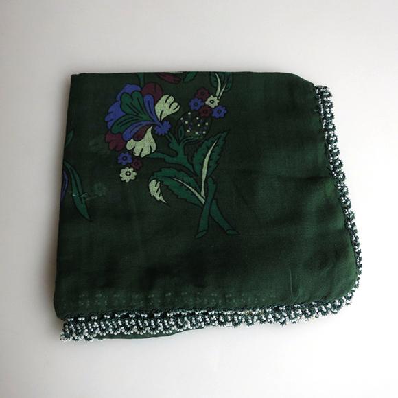 トルコの伝統手芸・オヤスカーフカギ針編みビーズのボンジュックオヤ ダークグリーン