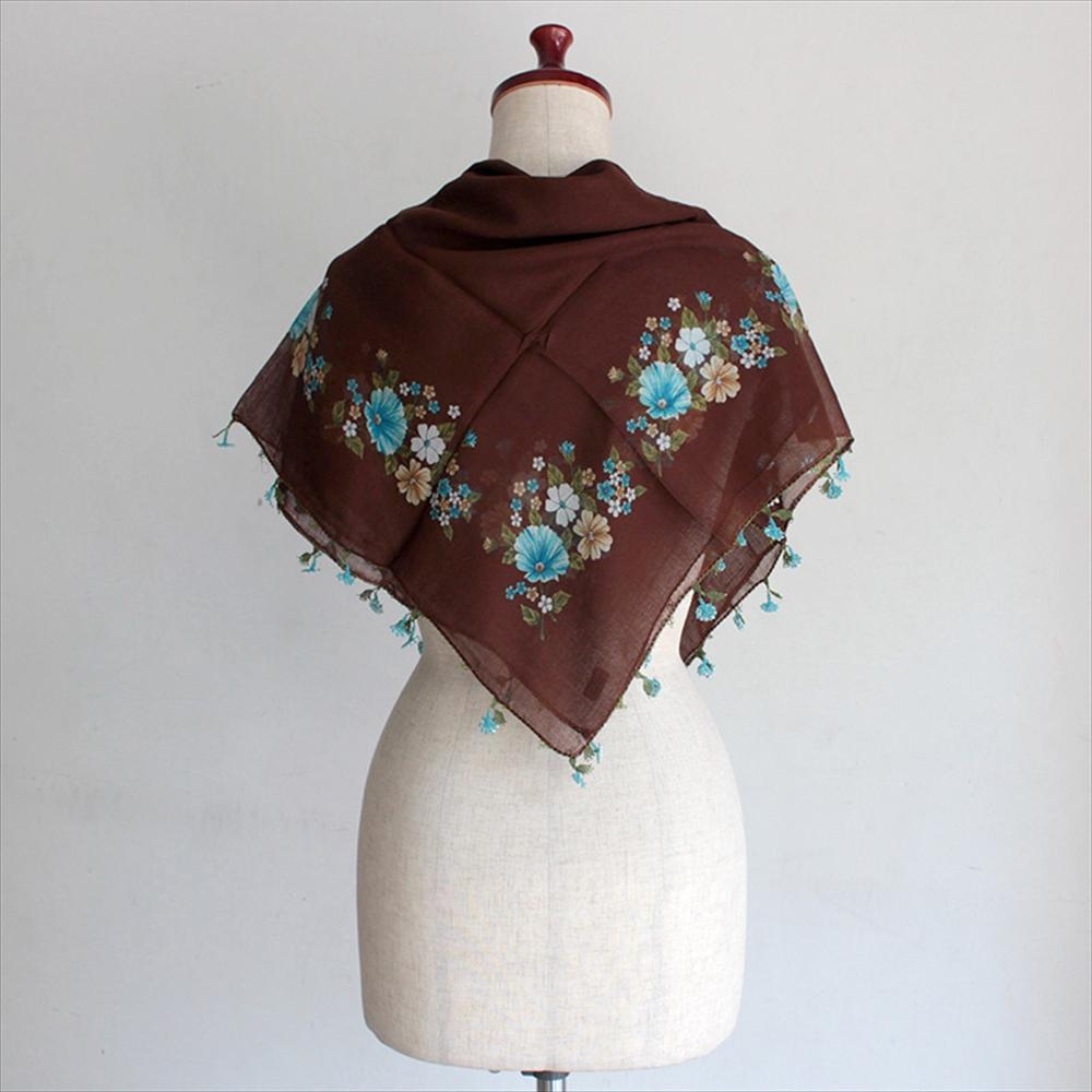 【レターパック利用可】イーネオヤ・トルコの伝統工芸 コットンスカーフジンジメの花・ブラウン