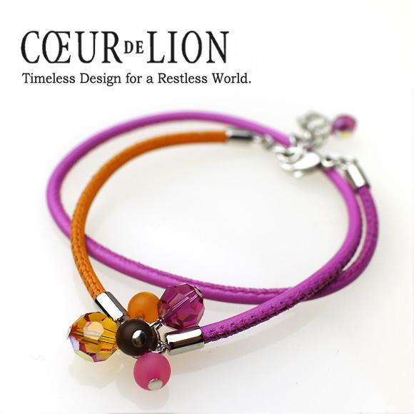 クール・ド・リオン Coeur de Lion /4369 スワロフスキーと皮ひものスパイラルブレスレット・オレンジ&ピンク