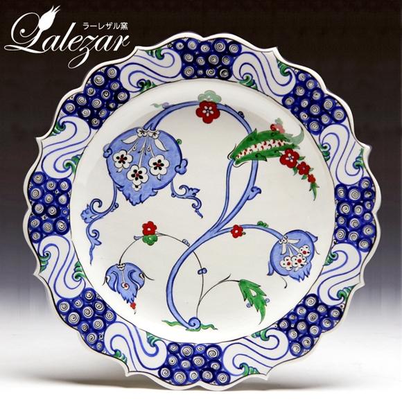イズニックスタイル手描き絵皿30cmプレートラーレザルLalezar窯/パルメット