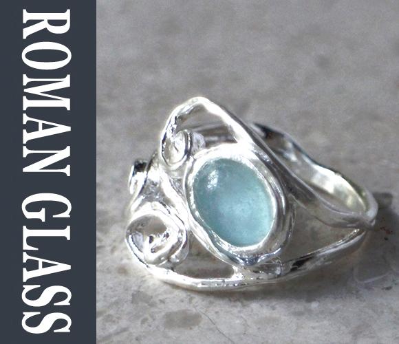 The Roman Glass Company ローマングラスカンパニー古代ガラスとシルバーリング gsr406