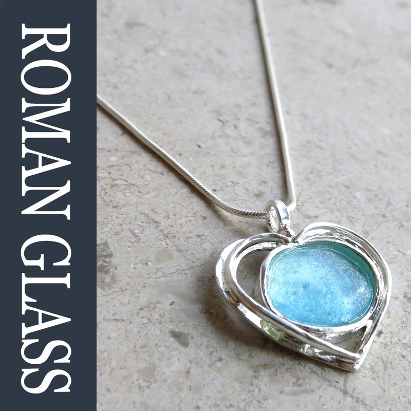 The Roman Glass Company ローマングラスカンパニー古代ガラスとシルバーネックレスgsr458