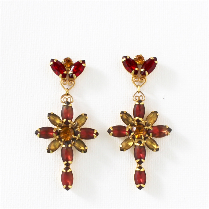 Michel's Vintage Beads Earing Cuba Cross Redヴィンテージビーズピアス・キューバクロス