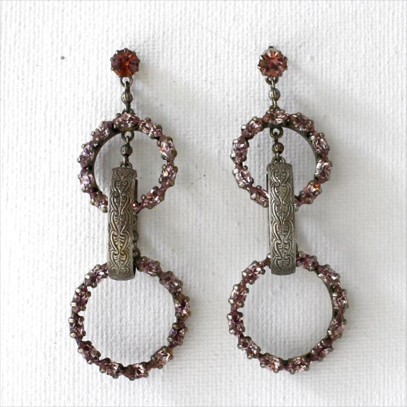 Michel's Vintage Beads Pierced Earring・ジプシーラウンドヴィンテージビーズピアス スタッド ラインストーン