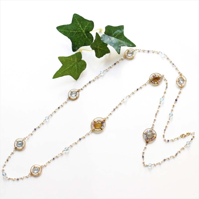 Jaipur ジャイプール シルバーネックレス/パール、サファイア、トルマリン ロングネックレス 天然石 Tourmaline Sapphire Pearl