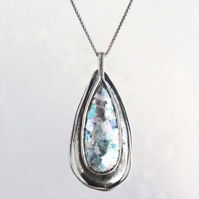 ローマンガラスカンパニー/ネックレス The Roman Glass Company銀化した古代ガラス(パティナ)とシルバー