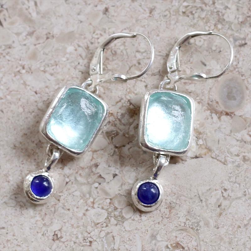 ローマングラス・イスラエル出土/ピアス古代ガラス&シルバーと天然石 The Roman Glass Company, Israel
