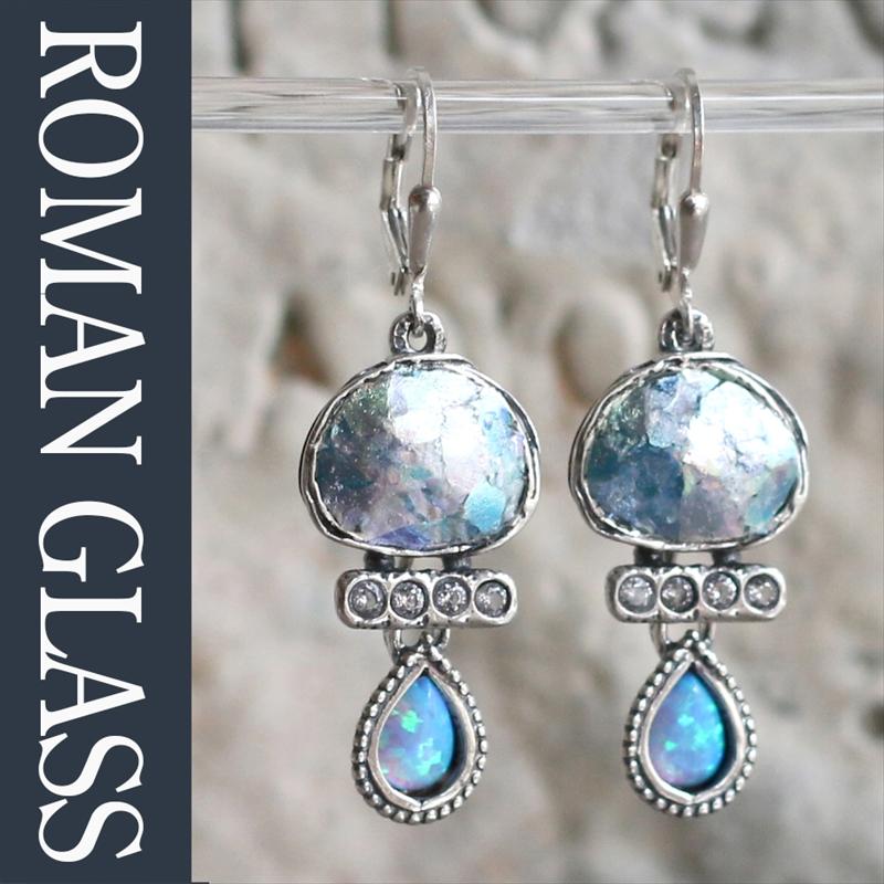 ローマングラス・イスラエル出土/ピアス銀化した古代ガラス(パティナ)とシルバー ジルコニア The Roman Glass Company, Israel