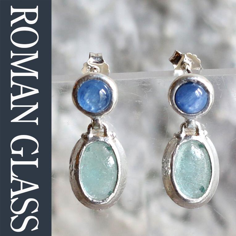 ローマングラス・イスラエル出土/スタッドピアス古代ガラス&シルバー 天然石 The Roman Glass Company, Israel