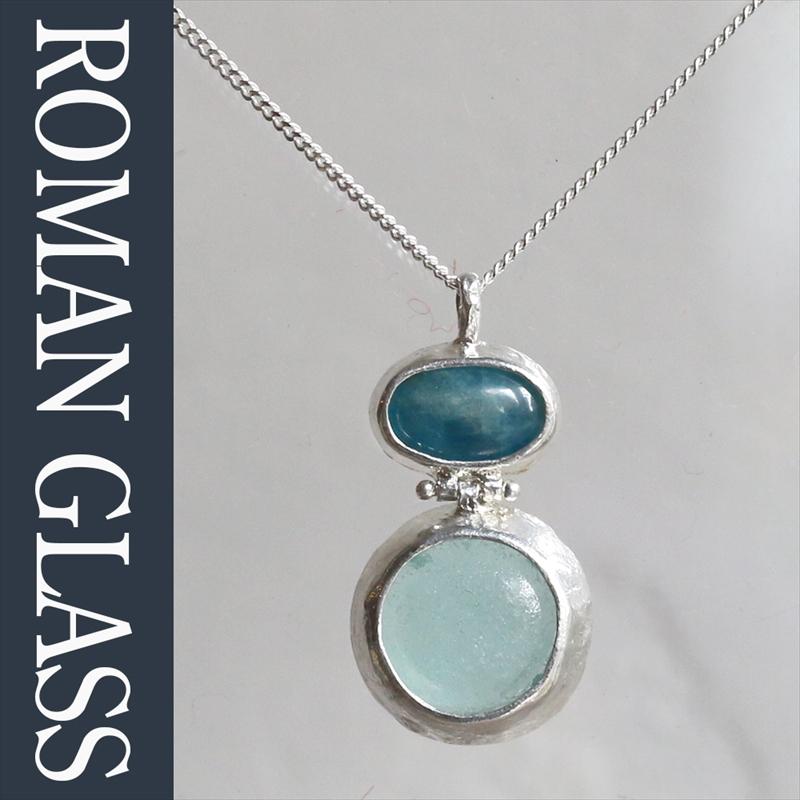 ローマングラス・イスラエル出土/ネックレス 古代ガラス&シルバー The Roman Glass Company, Israel