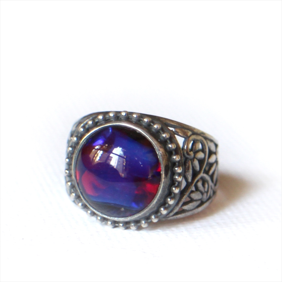 ヴィンテージビーズ RED PURPLE ガラスビーズ リングMichel's Vintage & Anteque Beads Ring saphiret