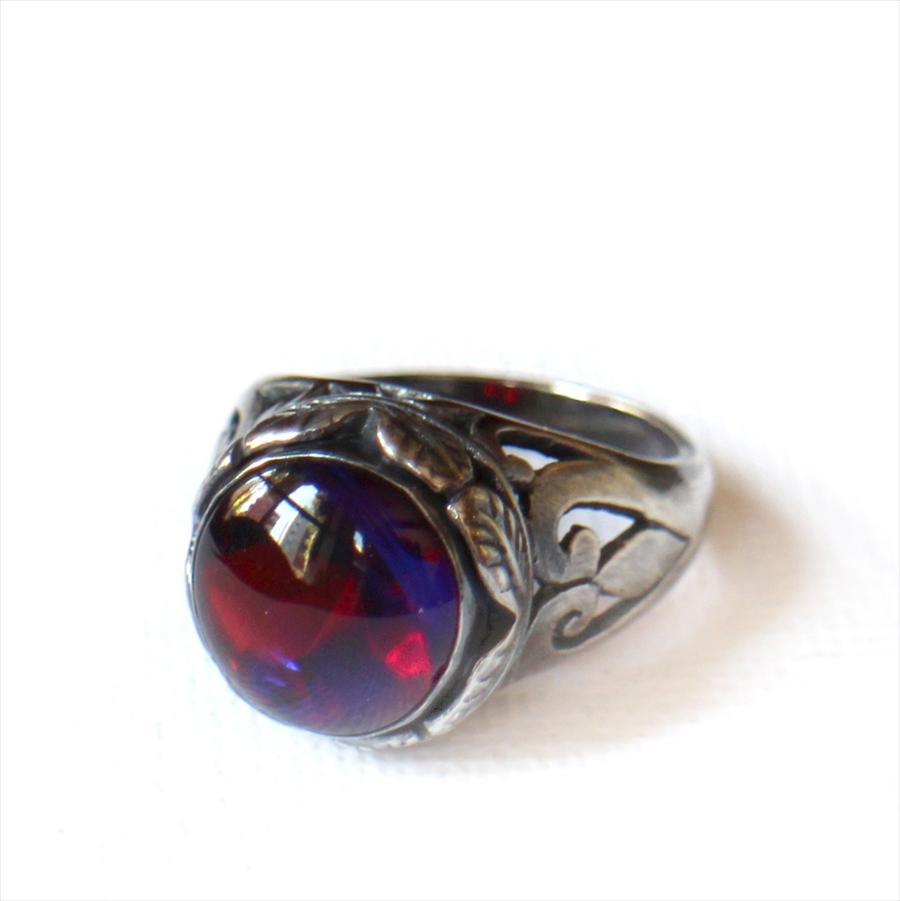 ヴィンテージビーズ RED PURPLE ガラスビーズ リングMichel's Vintage & Anteque Beads Ring