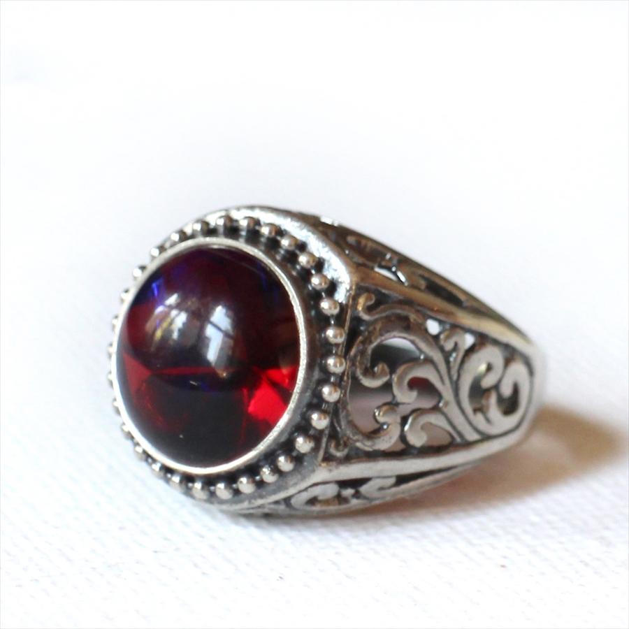 ヴィンテージ RED PURPLE ガラスビーズ リングMichel's Vintage & Anteque Beads Ring