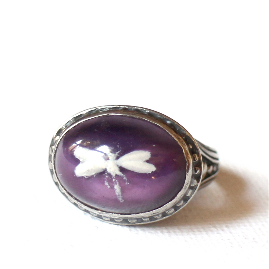 ヴィンテージビーズリング とんぼ ガラスビーズ Michel's Vintage & Anteque Beads Ring