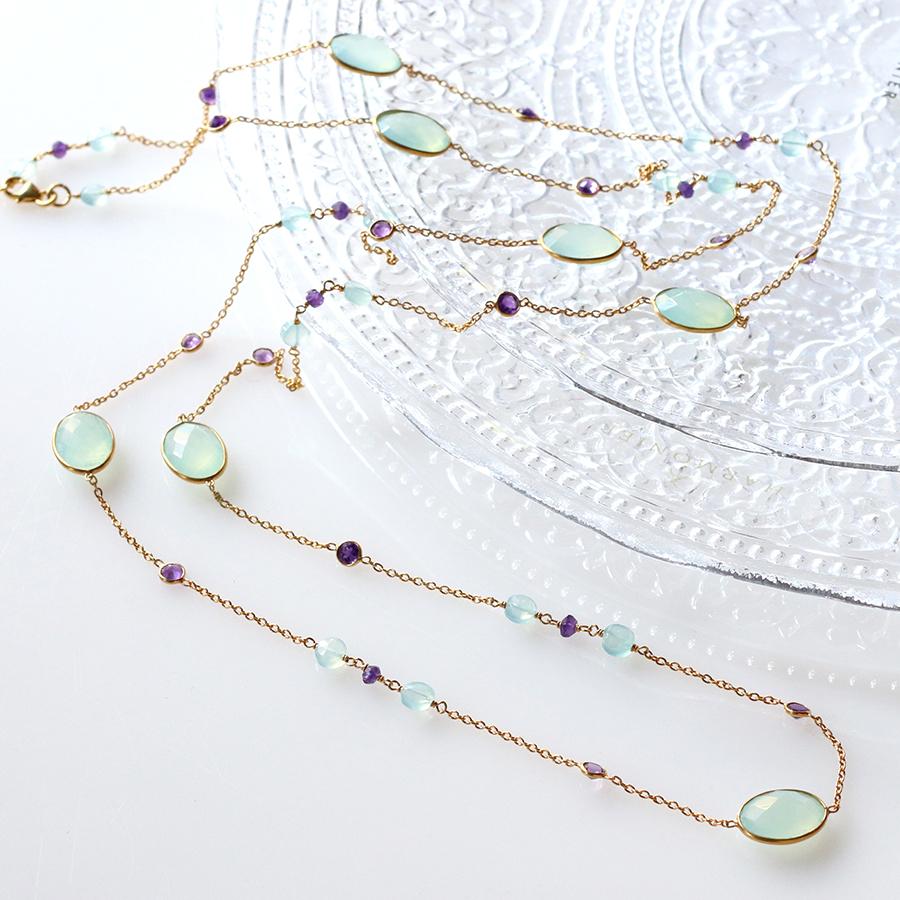 天然石シルバーネックレス ロングチェーン110cmJaipur Gemstone Jewelry, アメジスト・カルセドニー