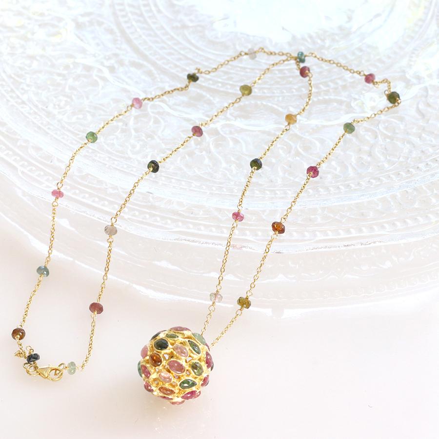 トルマリン・シルバーネックレス ペンダントJaipur Gemstone Jewelry, 天然石