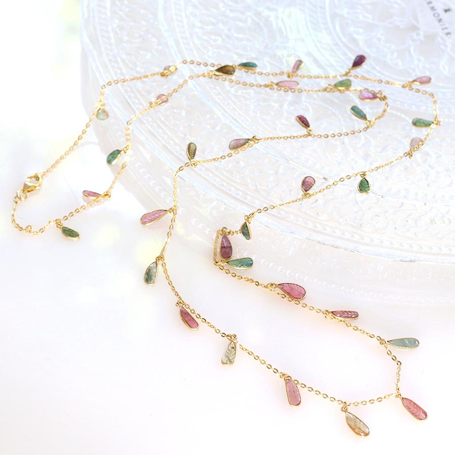 トルマリン Tourmaline, 天然石シルバーネックレス96cmJaipur Gemstone Jewelry,