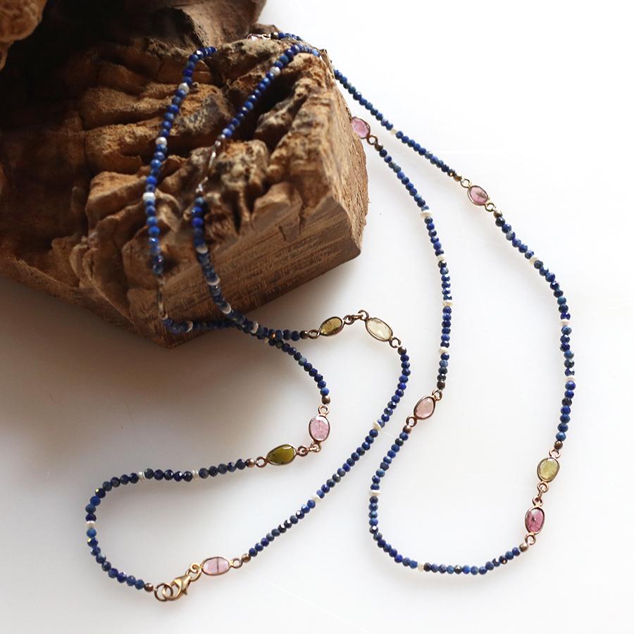トルマリン Tourmaline, ラピスラズリ シルバーネックレスJaipur Gemstone Jewelry,ジャイプール