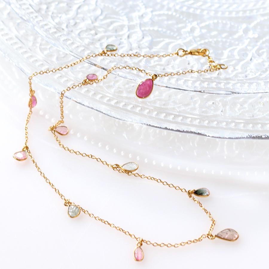 トルマリン Tourmaline, 天然石シルバーネックレスJaipur Gemstone Jewelry,ジャイプール
