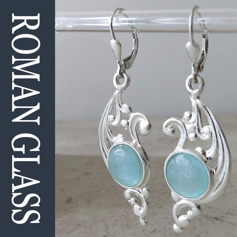 The Roman Glass Company ローマングラスカンパニー古代ガラスとシルバーのピアス gsr446