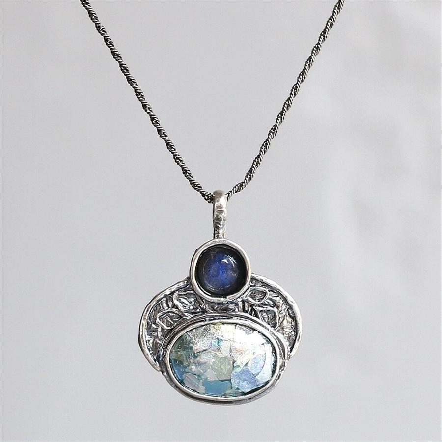 ローマンガラスカンパニー/ネックレス The Roman Glass Companyイスラエル出土古代ガラスとムーンストーン(ブルー)
