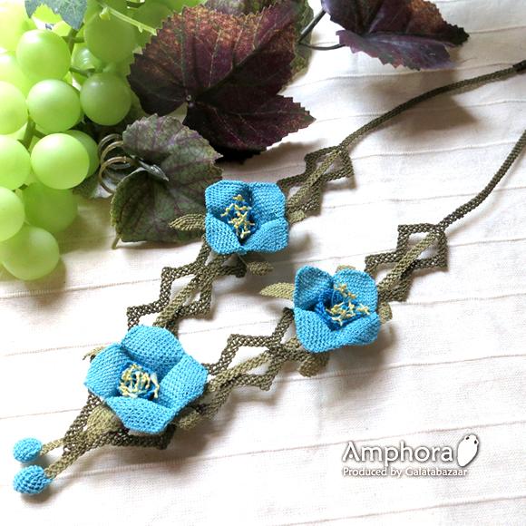 イーネ・オヤ刺繍針で作る繊細なレースネックレス/キキョウの花