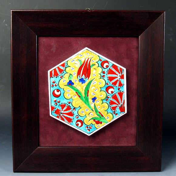 キュターヤ陶器 手描きタイル六角形1枚額 チューリップ