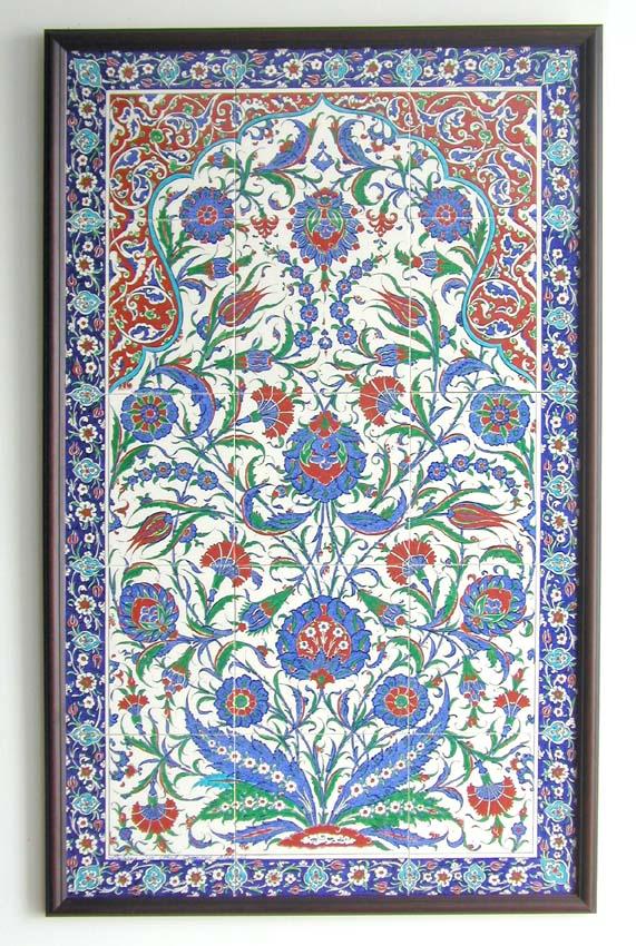 トルコ陶器・手書きタイルのパネルタイル15枚 オットマンクラシック