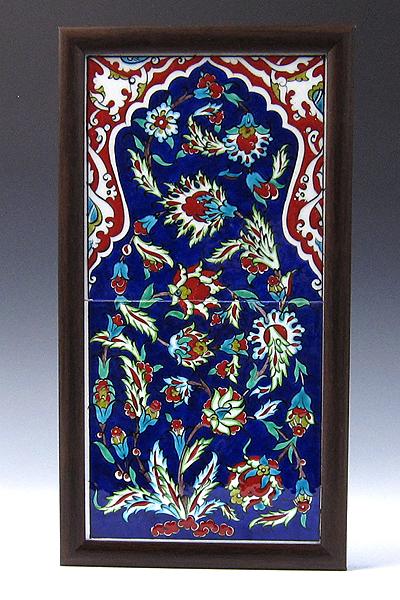 トルコ陶器・手書きタイルのパネルタイル2枚額コバルトブルーのミフラープ・パルメット