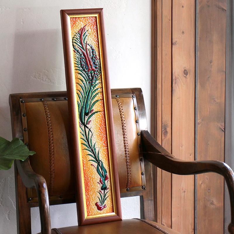 オスマントルコデザイン・チューリップの手書きタイル縦3枚額 オレンジ/ Turkish tile, hand painting in Kutahya