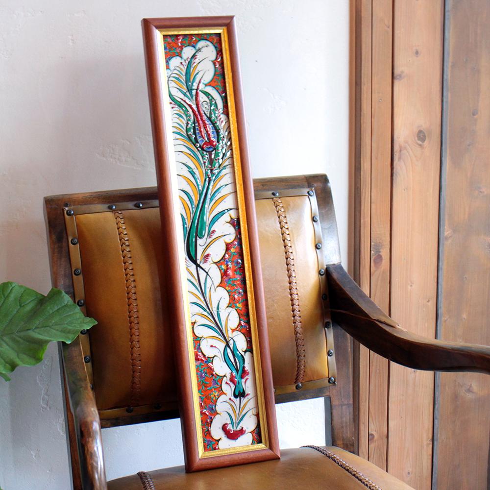 オスマントルコデザイン・チューリップの手書きタイル縦3枚額 レッド/ Turkish tile, hand painting in Kutahya