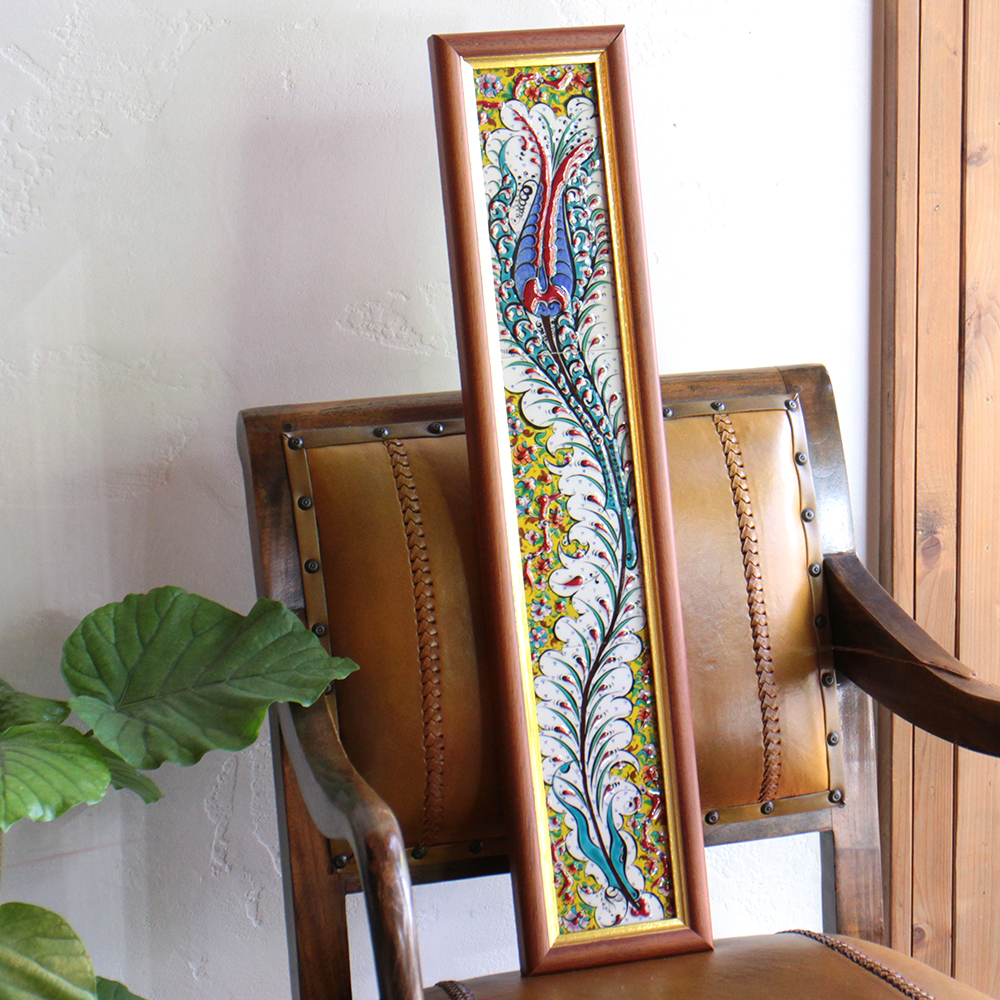 オスマントルコデザイン・チューリップの手書きタイル縦3枚額 グリーン/ Turkish tile, hand painting in Kutahya OUTLET・サービス品
