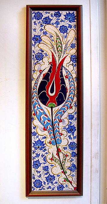 オスマントルコデザイン・チューリップの手書きタイル・四枚額
